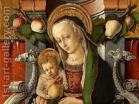 Madonna and Child enthroned with donor by Carlo Crivelli - Reproduction Oil Painting