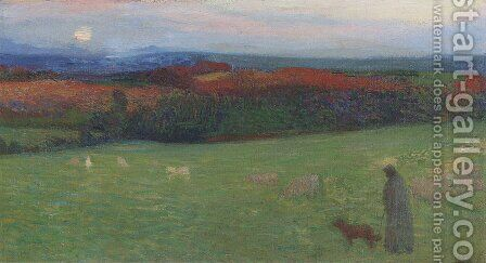 A Field with Figure by Henri Martin - Reproduction Oil Painting