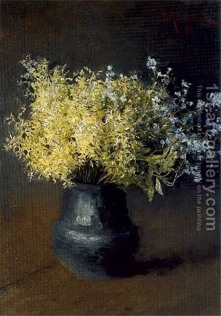 Forest violets and forget-me-nots by Isaak Ilyich Levitan - Reproduction Oil Painting