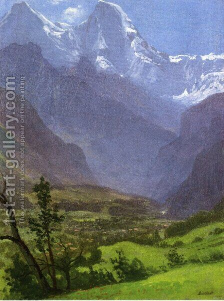 Twin Peaks, Rockies by Albert Bierstadt - Reproduction Oil Painting