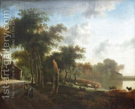 Landscape with shepherds by Adriaen Van De Velde - Reproduction Oil Painting