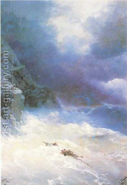 On the storm 2 by Ivan Konstantinovich Aivazovsky - Reproduction Oil Painting