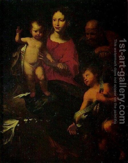 Holy Family with St. John the Baptist 2 by Bernardo Strozzi - Reproduction Oil Painting