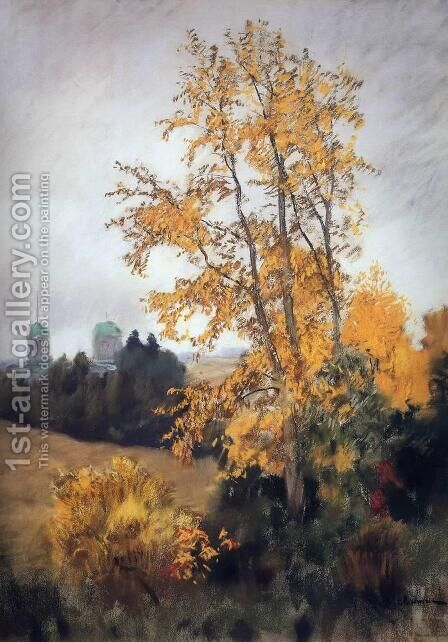 Autumn landscape with church by Isaak Ilyich Levitan - Reproduction Oil Painting