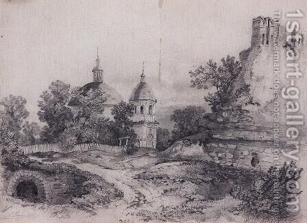 Landscape with Church and the ruins by Alexei Kondratyevich Savrasov - Reproduction Oil Painting