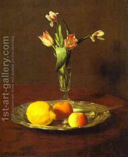 Lemons, Apples and Tulips by Ignace Henri Jean Fantin-Latour - Reproduction Oil Painting
