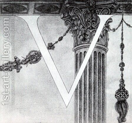 Design of Initial V 2 by Aubrey Vincent Beardsley - Reproduction Oil Painting