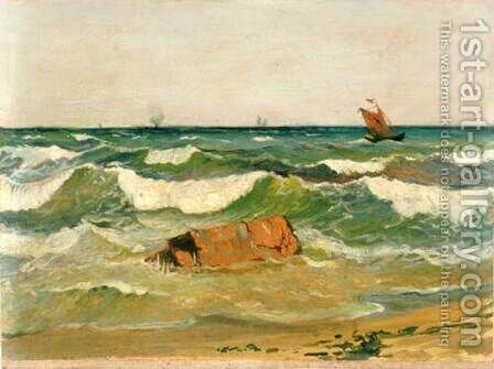 Coast with Waves by Ioannis (Jean H.) Altamura - Reproduction Oil Painting