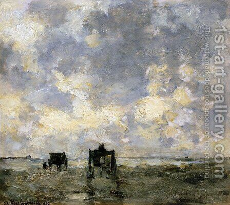 Shell carts on the beach by Jan Hendrik Weissenbruch - Reproduction Oil Painting