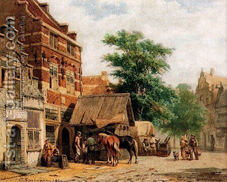 View at Culemborg by Cornelis Springer - Reproduction Oil Painting