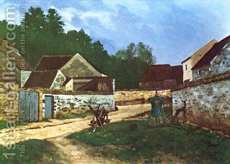 Dorfstrasse in Marlotte by Alfred Sisley - Reproduction Oil Painting