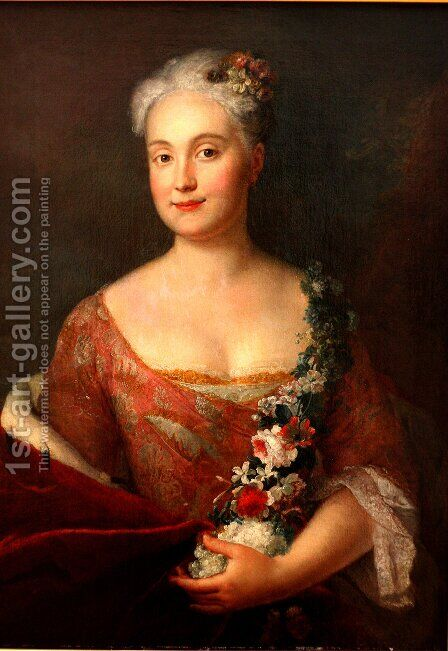Countess Friederike von Ansbach by Antoine Pesne - Reproduction Oil Painting