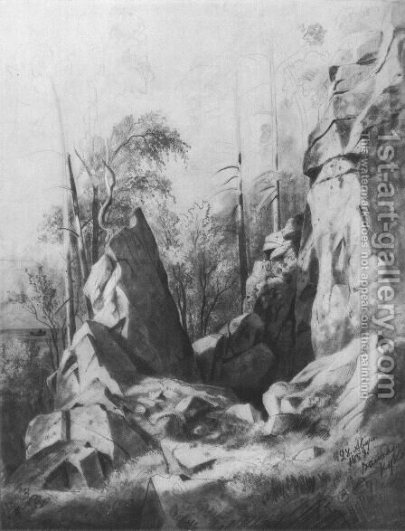 Rocks on the island of Valaam. Kukko by Ivan Shishkin - Reproduction Oil Painting