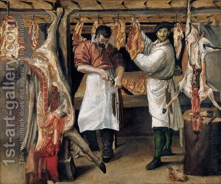 The Butcher's Shop 2 by Annibale Carracci - Reproduction Oil Painting