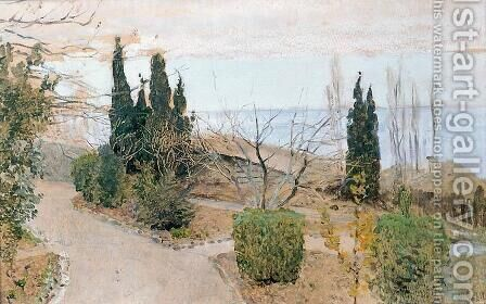 Garden in Yalta. Cypress trees. by Isaak Ilyich Levitan - Reproduction Oil Painting