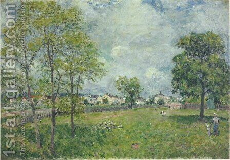View of the Village by Alfred Sisley - Reproduction Oil Painting