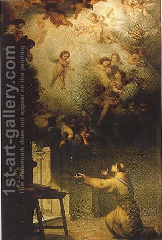 Vision of St. Anthony of Padua by Bartolome Esteban Murillo - Reproduction Oil Painting