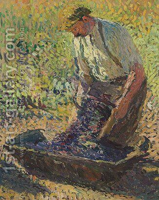 Farmer Kneeling by Henri Martin - Reproduction Oil Painting