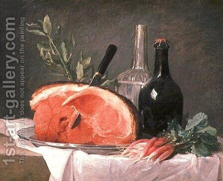 Still Life with a Ham by Anne Vallayer-Coster - Reproduction Oil Painting