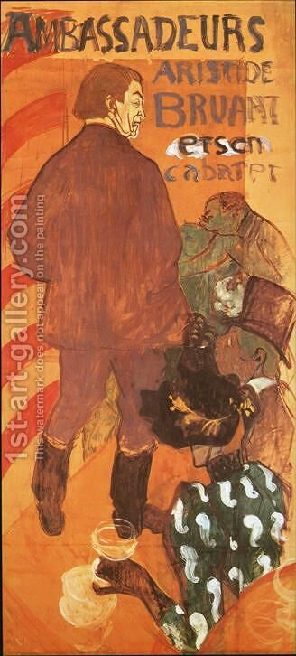 Les Ambassadeurs Aristide Bruant and His Cabaret by Toulouse-Lautrec - Reproduction Oil Painting