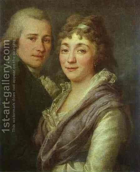 Portrait of V. I. Mitrofanov and M. A. Mitrofanova by Dmitry Levitsky - Reproduction Oil Painting