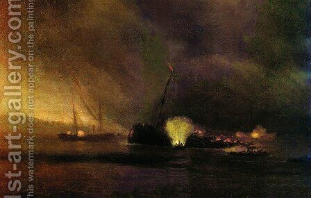 Explosion of the Three-masted Steamship in Sulin on 27 September 1877 by Ivan Konstantinovich Aivazovsky - Reproduction Oil Painting