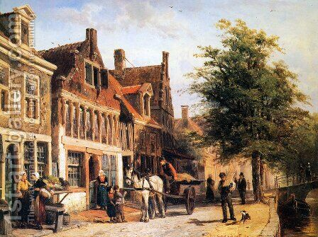 Vissersdijk in Enkhuizen by Cornelis Springer - Reproduction Oil Painting