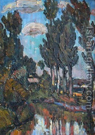 Lakeside trees by Istvan Nagy - Reproduction Oil Painting