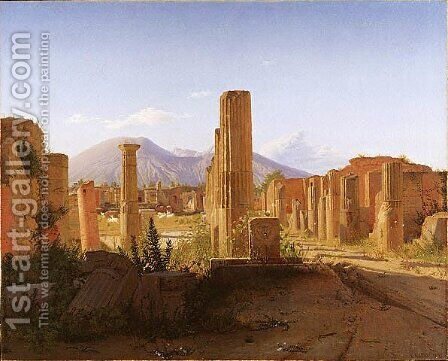 The Forum, Pompeii, with Vesuvius in the Distance by Christen Kobke - Reproduction Oil Painting