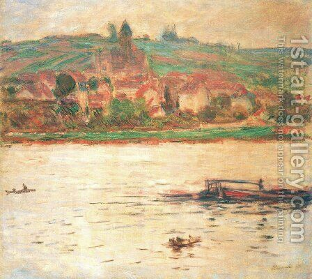 Vetheuil, Barge on the Seine by Claude Oscar Monet - Reproduction Oil Painting