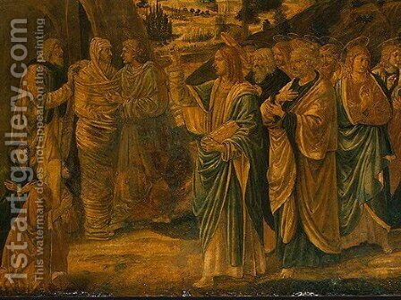 The Raising of Lazarus (detail) by Benozzo di Lese di Sandro Gozzoli - Reproduction Oil Painting