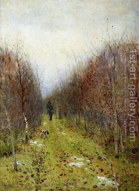 Autumn landscape with hunter by Isaak Ilyich Levitan - Reproduction Oil Painting