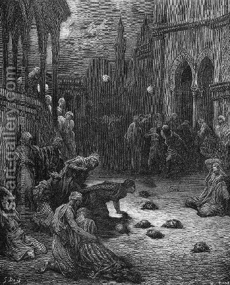 Crusaders Throwing Heads into Nicaea by Gustave Dore - Reproduction Oil Painting