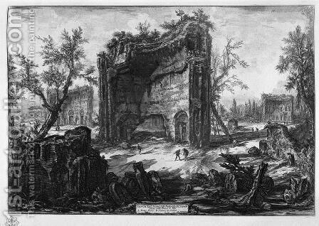 View the remains of factories on the second floor of the Baths of Titus by Giovanni Battista Piranesi - Reproduction Oil Painting