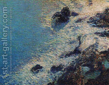 The Sea and Rocks by Henri Martin - Reproduction Oil Painting