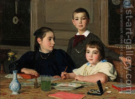The Zaeslin siblings by Albert Anker - Reproduction Oil Painting