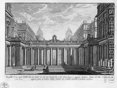 Prospect of a royal courtyard with a loggia in the middle by Giovanni Battista Piranesi - Reproduction Oil Painting