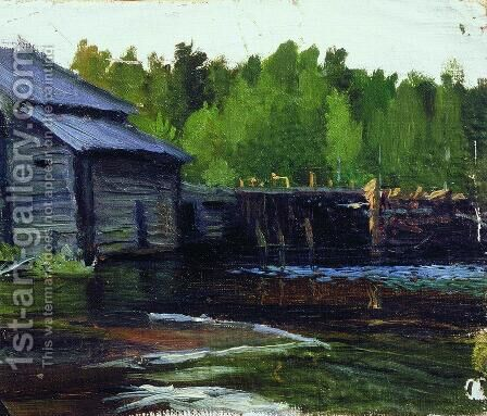 Pavlov's mill on the river Yahrust by Boris Kustodiev - Reproduction Oil Painting