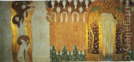 The Beethoven Frieze The Longing for Happiness Finds Repose in Poetry. Right wall by Gustav Klimt - Reproduction Oil Painting