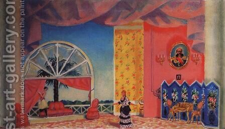 Scetch At Kupavina's house for Ostrovsky's Wolves and Sheep by Boris Kustodiev - Reproduction Oil Painting