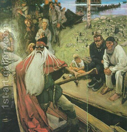 Le depart de Vainamoinen by Akseli Valdemar Gallen-Kallela - Reproduction Oil Painting