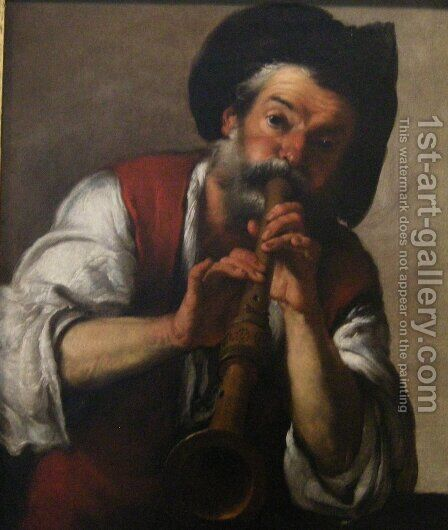 The Piper by Bernardo Strozzi - Reproduction Oil Painting