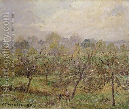 Autumn, Morning Mist, Eragny-sur-Epte by Camille Pissarro - Reproduction Oil Painting