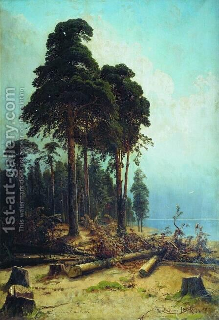 Pine forest 5 by Ivan Shishkin - Reproduction Oil Painting