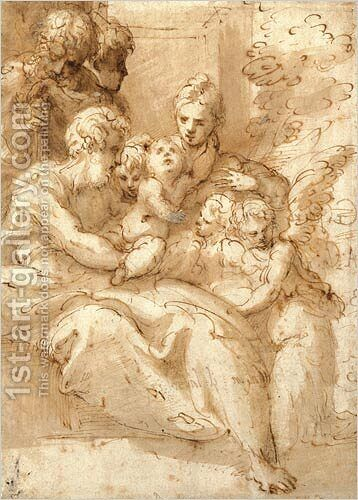 Holy Family with Shepherds and Angels by Girolamo Francesco Maria Mazzola (Parmigianino) - Reproduction Oil Painting