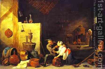 An Old Peasant Caresses a Kitchen Maid in a Stable by David The Younger Teniers - Reproduction Oil Painting