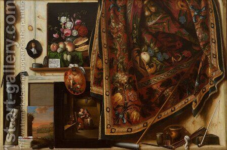 Trompe l'oeil. A Cabinet in the Artist's Studio by Cornelis Norbertus Gysbrechts - Reproduction Oil Painting