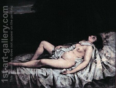 Reclining nude by Gustave Courbet - Reproduction Oil Painting