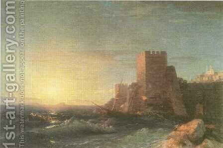 Towers on the Rock Near Bosporus by Ivan Konstantinovich Aivazovsky - Reproduction Oil Painting