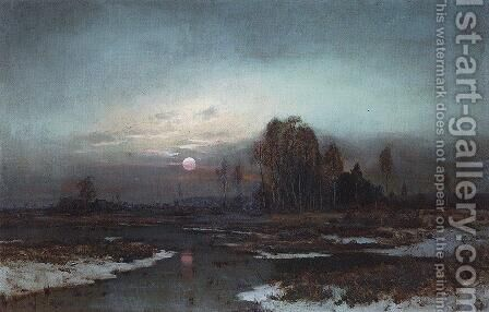 Autumn Landscape with a swampy river in the moonlight by Alexei Kondratyevich Savrasov - Reproduction Oil Painting